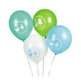 8 Ballons latex Baby Shower Cigogne Bleue Naissance