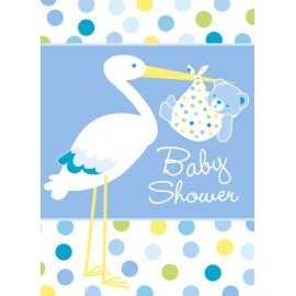8 Invitations Baby Shower Cigogne Bleue Naissance