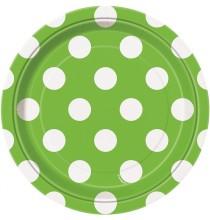 Petites Assiettes Vert Anis à Pois Blanc Vaisselle Carton