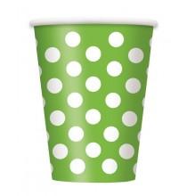 Gobelets Verre Vert Anis à Pois Blanc Vaisselle Carton