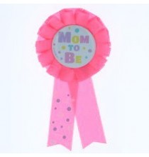 Badge Cocarde Baby Shower Mum to Be Party Rose