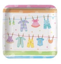 Assiettes en papier pour baby shower motif landau - Guirlande baby shower ...