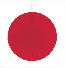 Rosace 40cm Rouge Uni Eventails à Suspendre