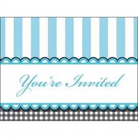 8 Invitations - Bleu et noir