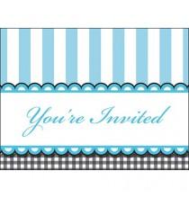 Invitation A Thème Bleu Petits Pieds avec Blanc et Noir Rétro