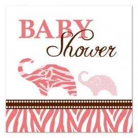 Serviettes Cocktail Baby Shower Safari Rose