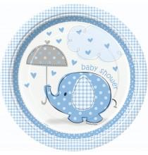 Grandes Assiettes Jetables Baby Shower Petit Eléphant Bleu