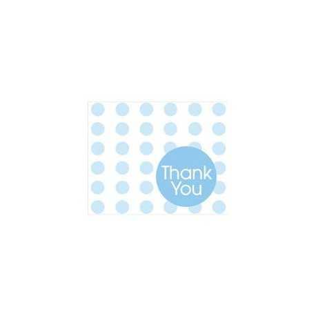 Carte de Remerciements Bleu à Pois