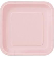 16 Petites Assiettes Carré Papier Rose