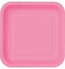16 Petites Assiettes Carré Papier Rose Fushia