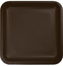 16 Petites Assiettes Carré Papier Marron Chocolat