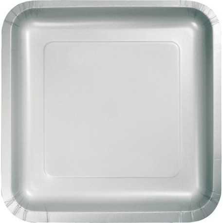 16 Petites Assiettes Carré Papier Gris Argent