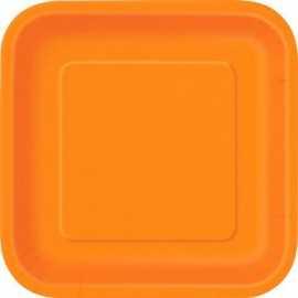 16 Petites Assiettes Carré Papier Orange