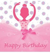 Serviettes en papier Happy Birthday Anniversaire Ballerine Tutu Rose