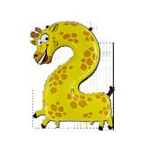 Ballon Géant Alu Animal Chiffre 2 Ans Girafe Anniversaire
