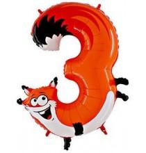 Ballon Géant Alu Animal Chiffre 3 Ans Renard Anniversaire