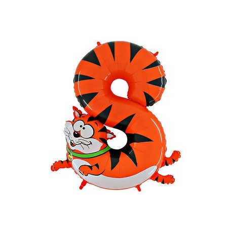 Ballon Géant Alu Animal Chiffre 8 Ans chat Anniversaire