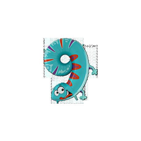 Ballon Géant Alu Animal Chiffre 9 Ans Ver Anniversaire
