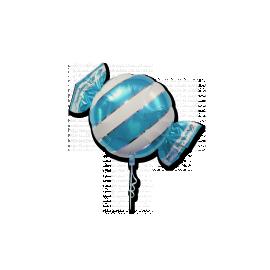 Ballon Géant en forme de Bonbon Rayé bleu clair et blanc