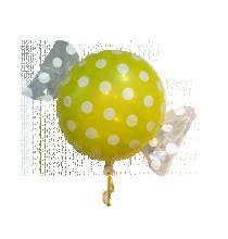 Ballon Géant en forme de Bonbon Pois jaune et blanc