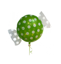 Ballon Géant en forme de Bonbon Pois vert et blanc