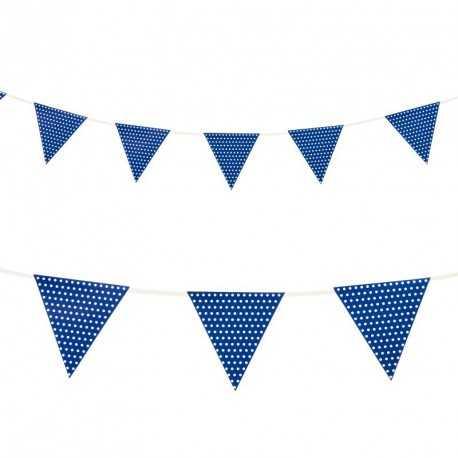 Banderole à Fanions Bleu de Fête à Pois Blanc