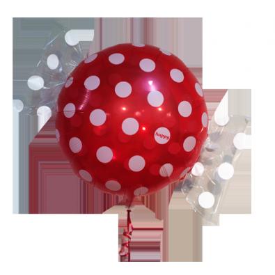 ballon g ant h lium rouge et blanc en forme bonbon pois. Black Bedroom Furniture Sets. Home Design Ideas