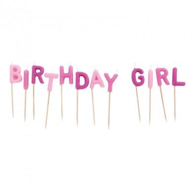 Bougies Birthday Girl Rose dégradé