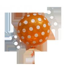 Ballon Géant en forme de Bonbon Pois orange et blanc