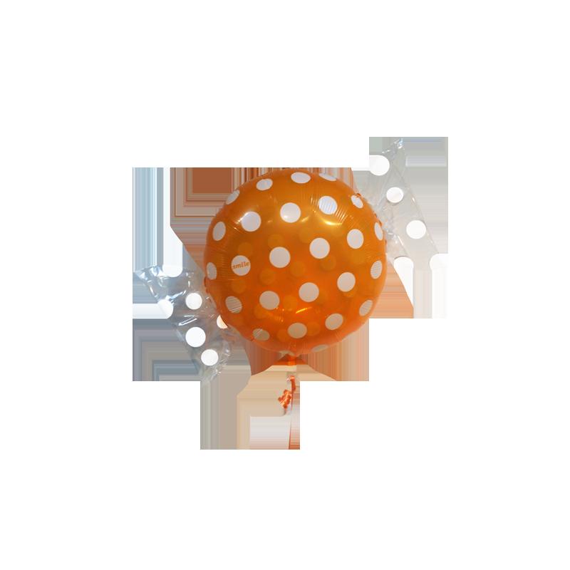 ballon g ant h lium orange et blanc en forme bonbon pois. Black Bedroom Furniture Sets. Home Design Ideas