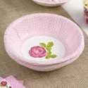 Assiettes de Présentation Bol Liberty Rose à Fleur rose clair et pois blanc