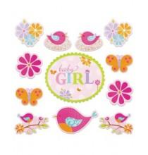 12 Décorations Petit Oiseau Rose Baby Girl