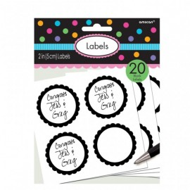20 Autocollants Sweet Table Noir et Blanc