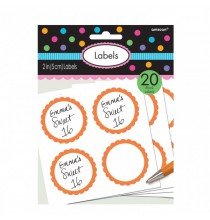 20 Autocollants Sweet Table Orange et Blanc