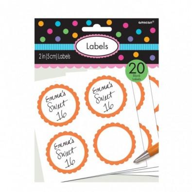 20 Autocollants Sweet Table Orange et Blanc