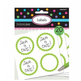 20 Autocollants Sweet Table Vert et Blanc