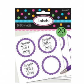 20 Autocollants Sweet Table Violet et Blanc