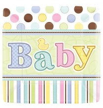 Grandes assiettes Baby Shower Pastel