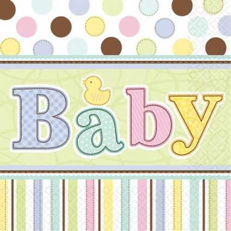 36 serviettes en papier Baby Shower Pastel