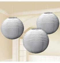 Lot de 3 Boules de Papier Argent Gris Lanterne 24 cm