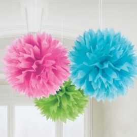 Lot de 3 Grands Pompons Papier de Soie 40 cm Bleu vert et rose Décoration de Fête