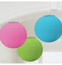 3 Boules de Papier Multicolore Lanterne 24 cm