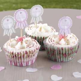 20 Piques Cup cakes Décorés Rose et Vert Liberty Vintage