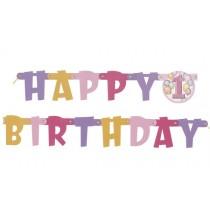 Banderole Happy First Birthday Rose