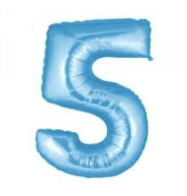 Ballon Géant Alu Bleu Clair 5 Ans Fête d'Anniversaire