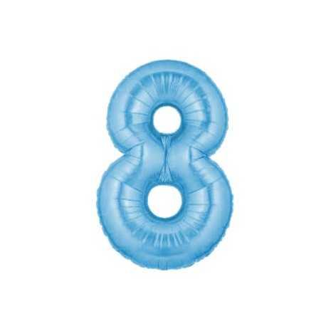 Ballon Géant Alu Bleu Clair 8 Ans Fête d'Anniversaire