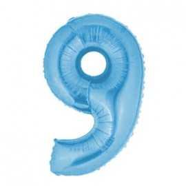 Ballon Géant Alu Bleu Clair 9 Ans Fête d'Anniversaire