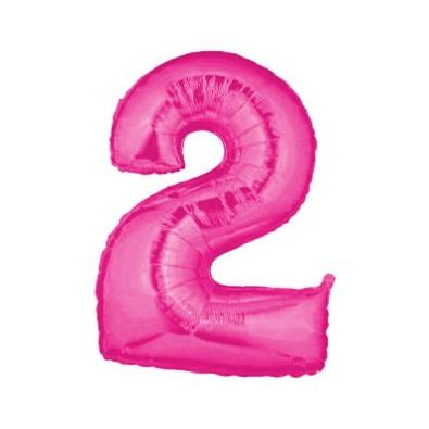 Ballon Géant Alu Rose Fushia 2 Ans Fête d'Anniversaire enfant