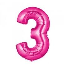 Ballon Géant Alu Rose Fushia 3 Ans Fête d'Anniversaire
