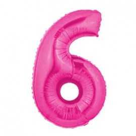 Ballon Géant Alu Rose Fushia 6 Ans Fête d'Anniversaire enfant
